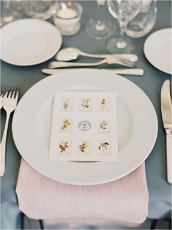 Louise Richardson French Wedding Stationery Provence Menu