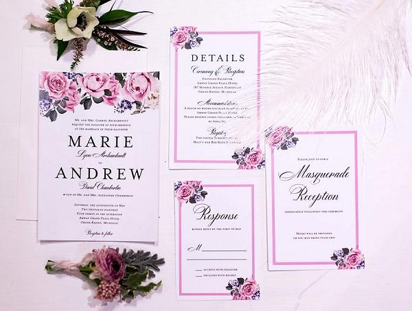 Pink inspired wedding stationery