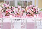 Pink roses tablescape