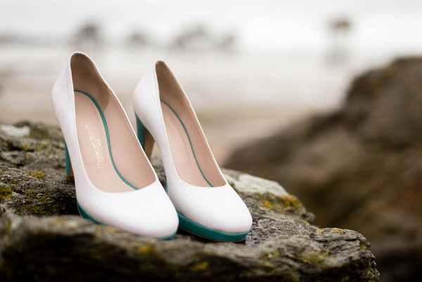 White and green patent wedding shoes