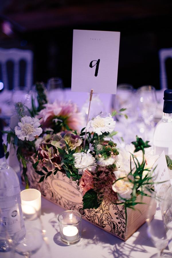 Wine box floral centerpiece