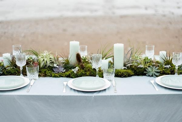 Winter inspired beach wedding tablescape