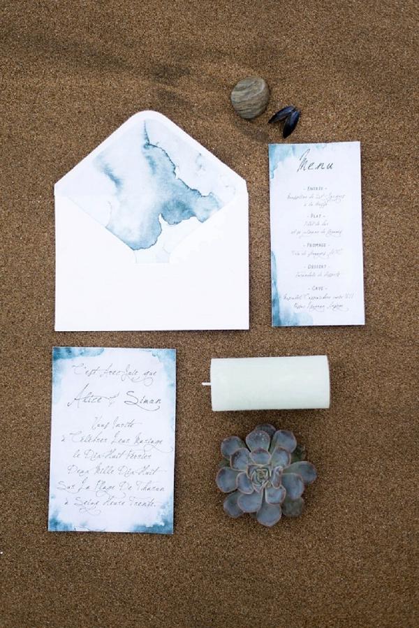 Winter inspired wedding stationery