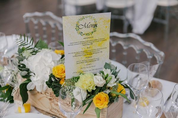 Yellow inspired wedding stationary