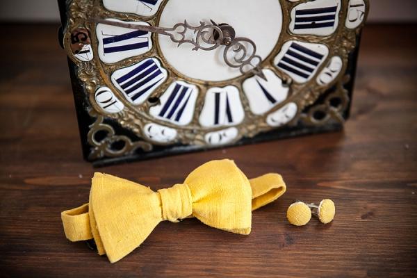 Yellow wedding bow tie