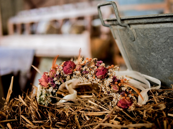 Burgundy floral wedding crown