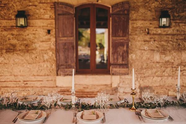 Elegant wedding breakfast table setting