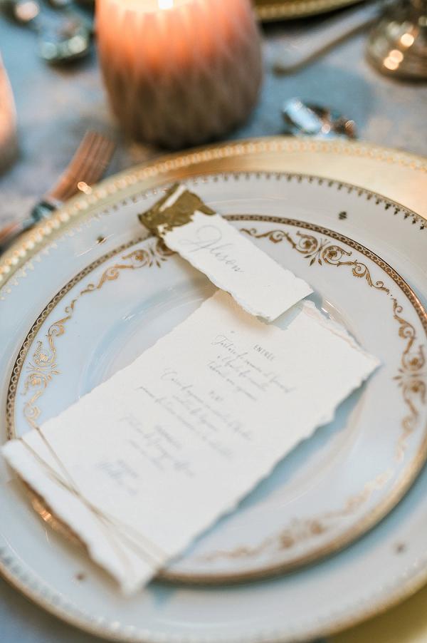Gold leaf wedding stationery