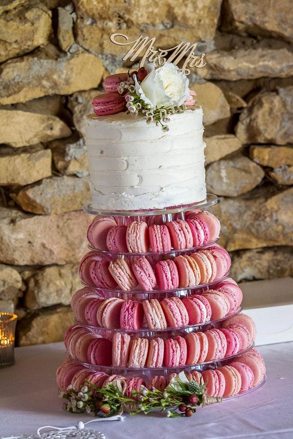 Pink macaroon twoer wedding cake