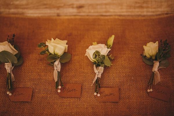 White rose boutonnières