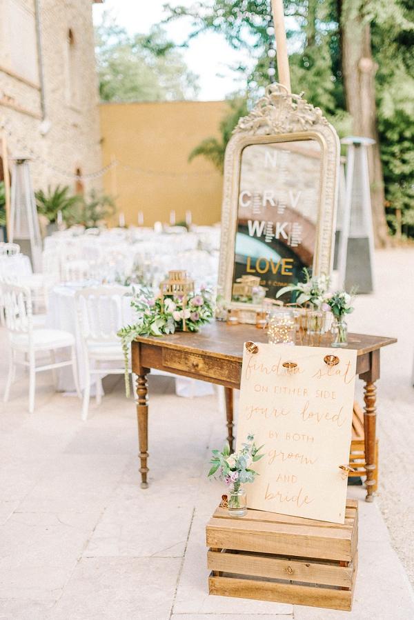 find a seat wedding sign