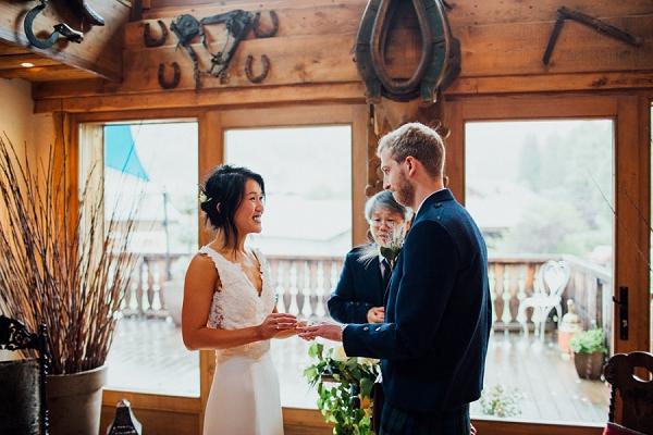 indoor french alps wedding ceremony