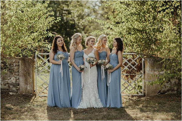 pastel blue bridesmaids for wedding at Chateau Saint Martory