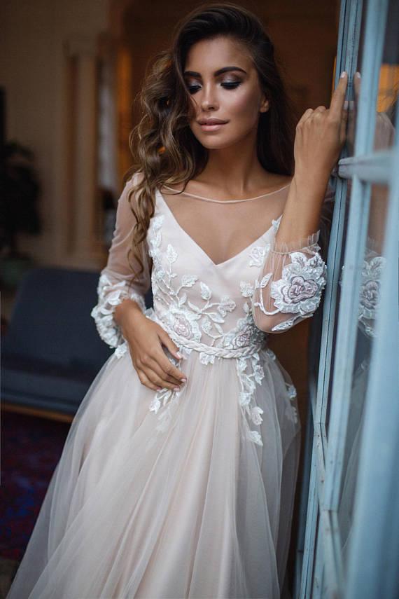 sleeve boho etsy wedding dress