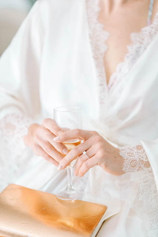 white bridal robe