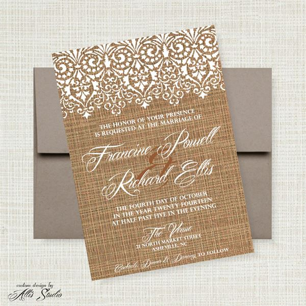 French Wedding Invite French Lace