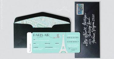 French Wedding Invite Paris Air Boarding Pass