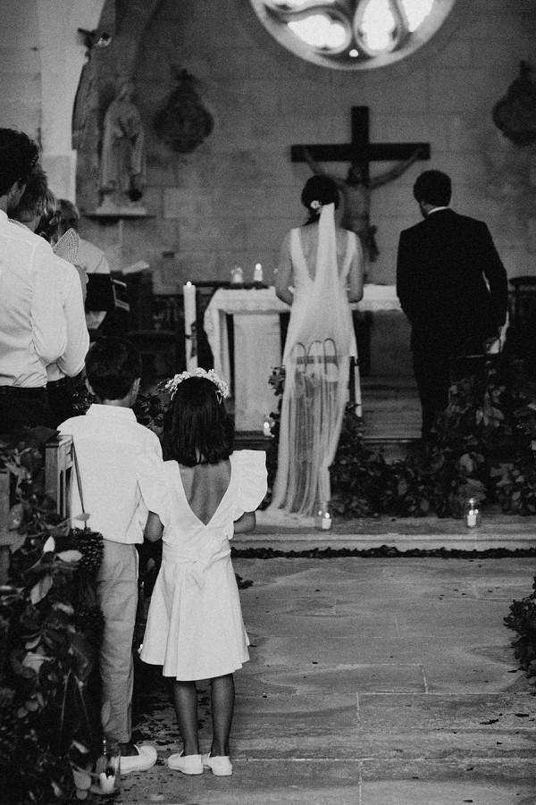 black and white church wedding