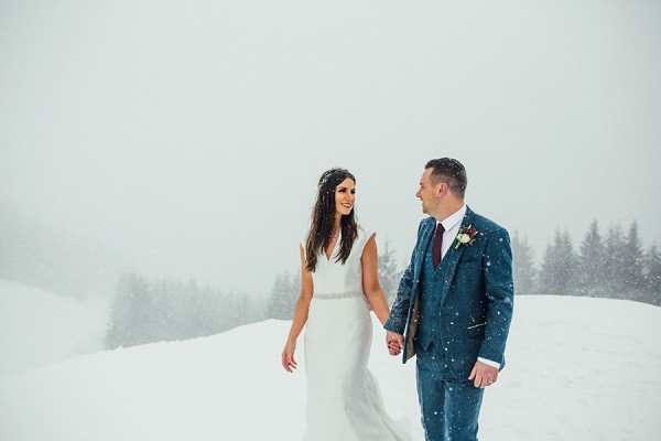 bride and groom portraits in the snow