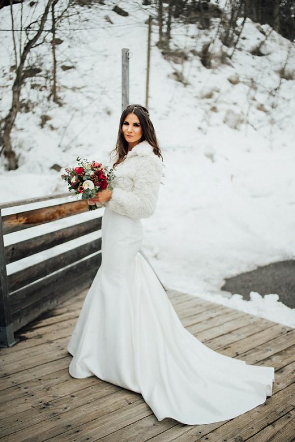 winter bridal portrait