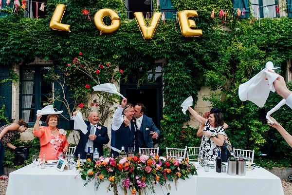 Fun bride and groom entrance