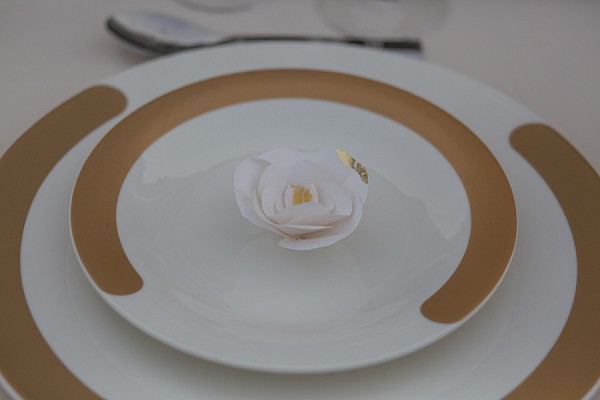 Gold leaf wedding details