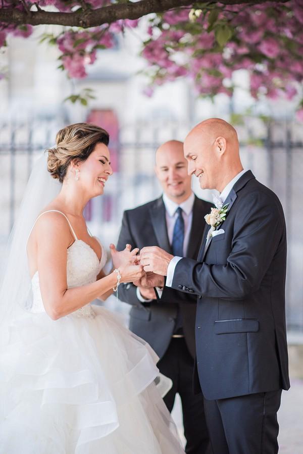 Intimate outdoor Paris wedding ceremony