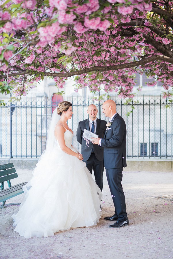 Intimate spring wedding ceremony Paris