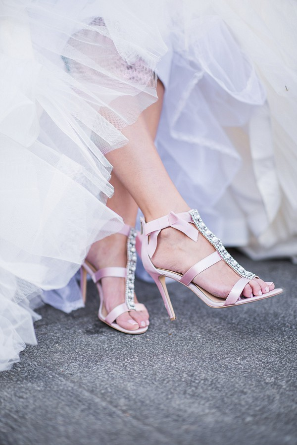 Pink Badgley Mischka wedding shoes