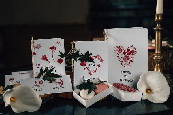 Ruby inspired wedding stationery
