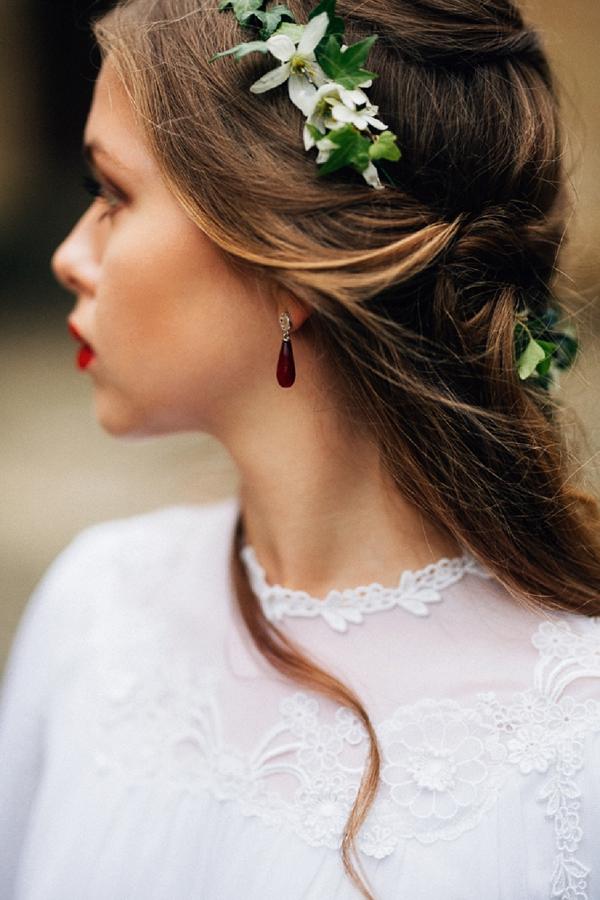 Ruby wedding earrings