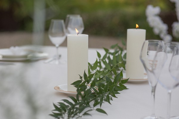 Simple white wedding styling