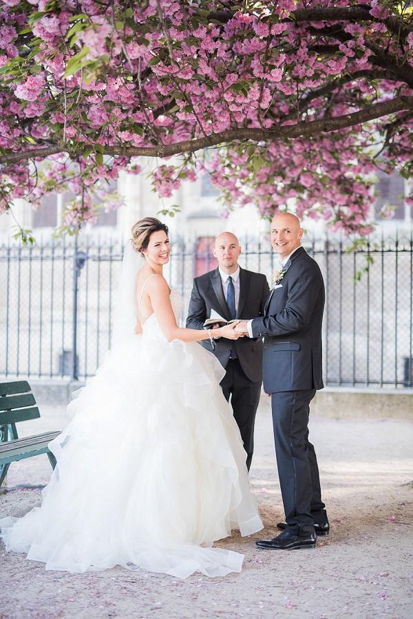 Springtime blossom Paris wedding