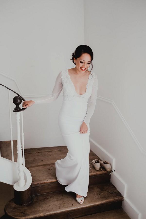 low cut bridal gown