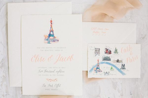 parisian wedding invite suite