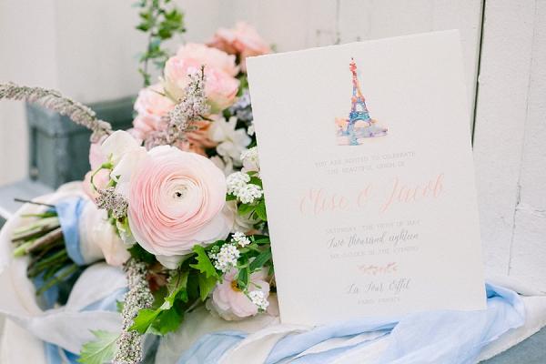 wedding invite inspired by Paris