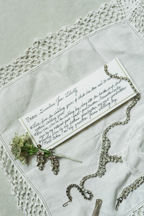 Family heirloom bridal details