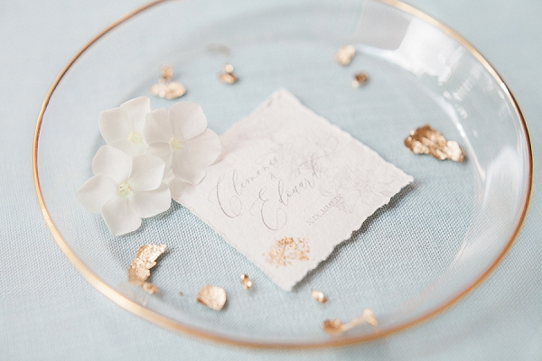Gold leaf wedding stationery