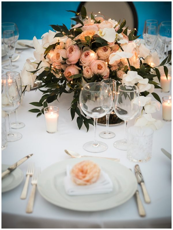 candle lit wedding table arrangement