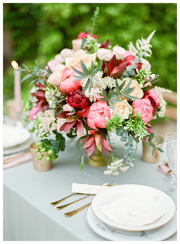 colorful table flower design