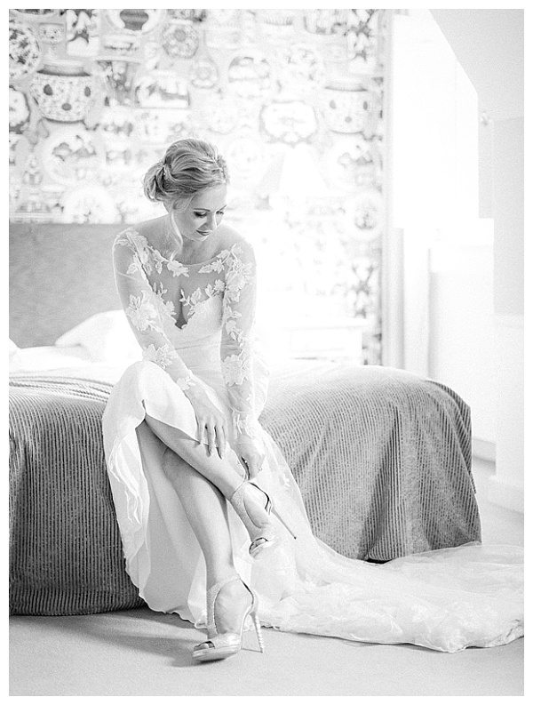 elegant wedding dress with lovely shoes