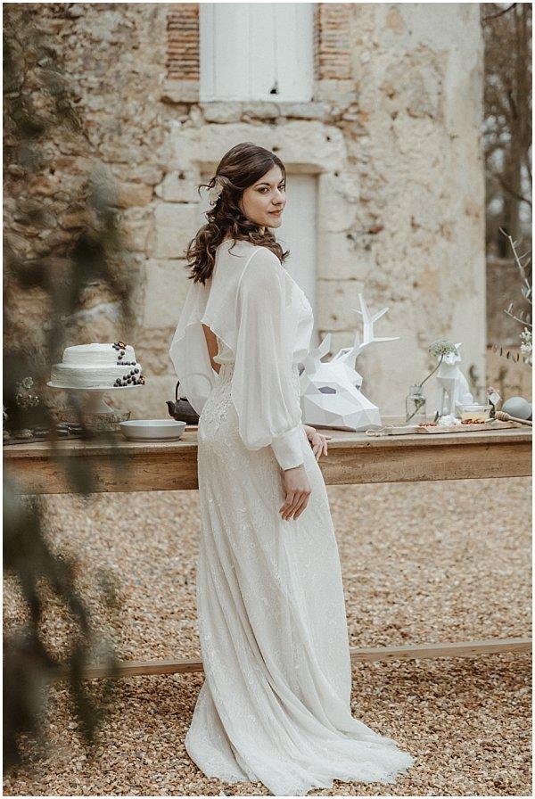 beautiful long white wedding dress