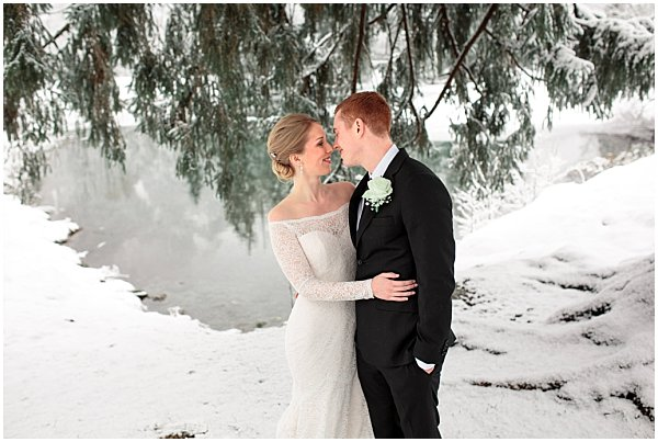 bride and groom at the french alps