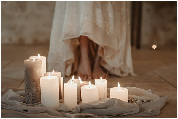 candles and fabrics