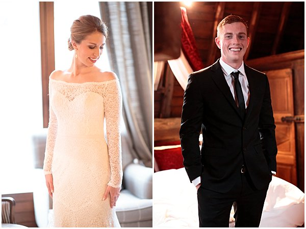 elegant white dress bride and classic suit for groom