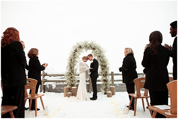 family and friends celebrate wedding in the alps