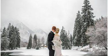 lake wedding french snow alps