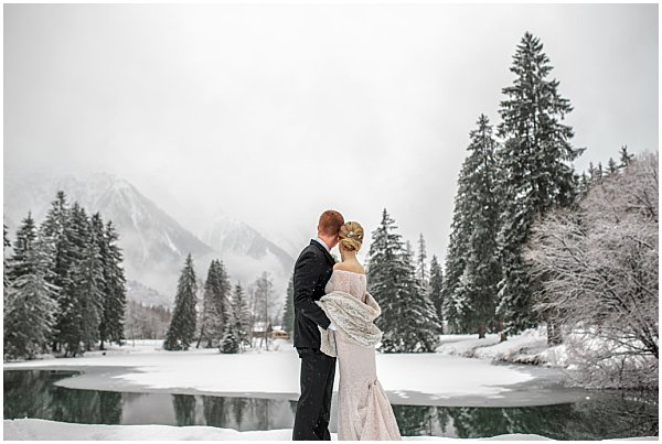 lake wedding french snow alps