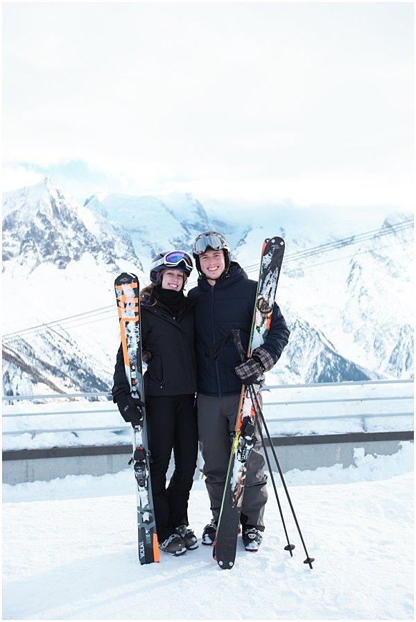 lovely couple skiing in the french alps