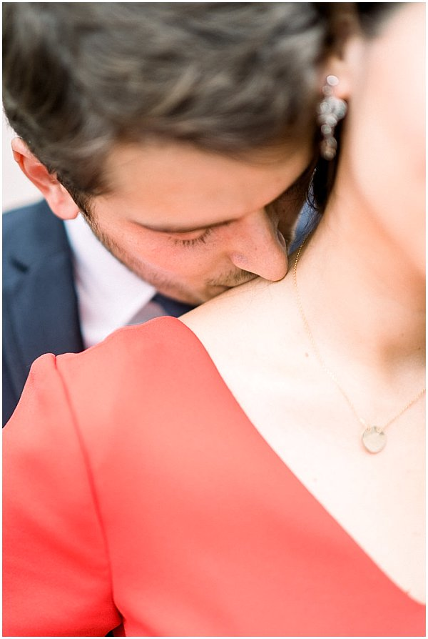 passionate kiss on engagement shoot